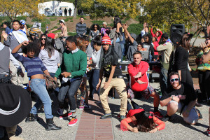 "Students participating in East Bay's very own ""Harlem Shake."""