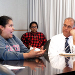 CSUEB student Vanessa Garcia expresses concern for Aramark worker conditions to CSUEB's Chief of  Finance Brad Wells.