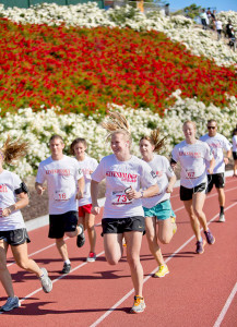 Brett Hall, former CSUEB baseball player, leads the 5k run on Saturday morning.
