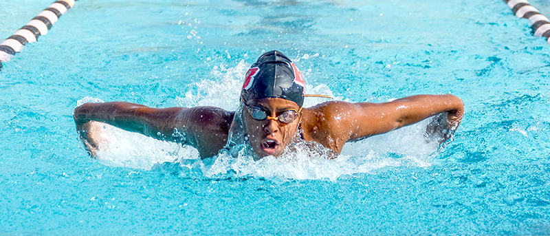 Mariam+Lowe+competes+in+the+200-yard+butterfly+event+where+she+finished+first+with+a+time+of+2%3A17.73+during+a+home+meet+against+Mills+College.