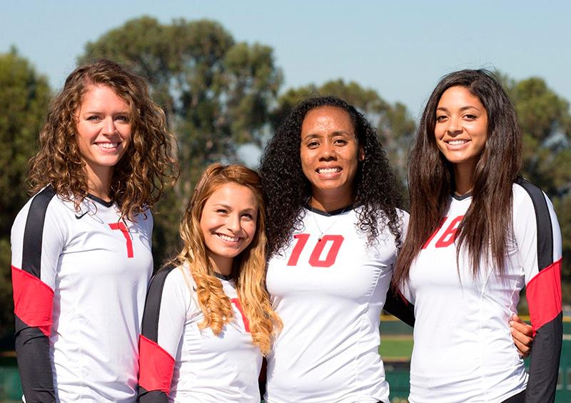 Cal State East Bay women's volleyball team's departing seniors: Amber Hall, Veronica Sanchez, Ashia Josheph, and Samantha Bruno.