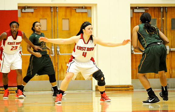 Junior Shannon Bland plays defense on Saturday at Pioneer Gymnasium on the Hayward campus.