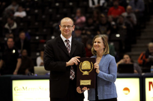 New CSUEB Director of Athletics Joan McDermott accepts an award at Metropolitan State last year.