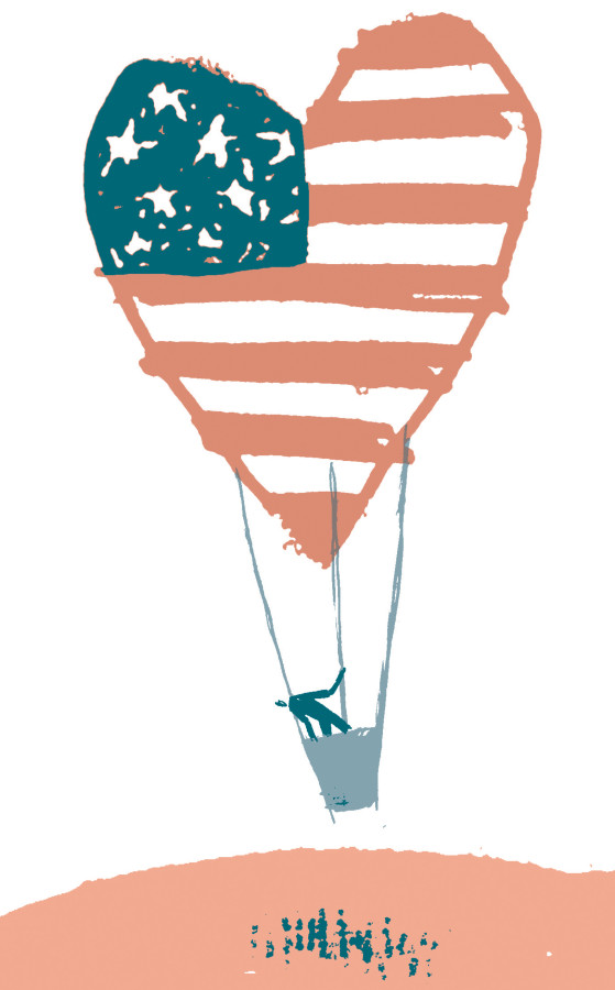 300 dpi Gabriel Campanario illustration of hot-air balloon that looks like heart-shaped U.S. flag flying over border; can be used with stories about U.S. immigration. The Seattle Times 2011  krtnational national; krtworld world; krt; krtcampus campus; mctillustration; 14003002; immigration; krtdemographics demographics; krtsocialissue social issue; SOI; hispanic; krtdiversity diversity; hot-air balloon hot air balloon; 2011; krt2011