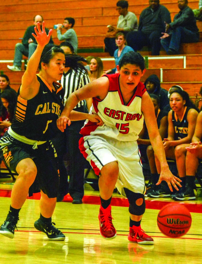 CSUEB+senior+guard+Sharissa+Estremera+drives+to+the+basket.