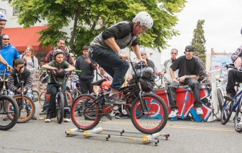 Bicyclists rope rodeo in Downtown Hayward
