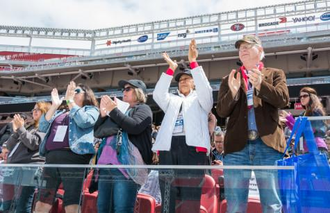 Event attendees applaud during the Freedom Summit, Saturday at Levi's Stadium.