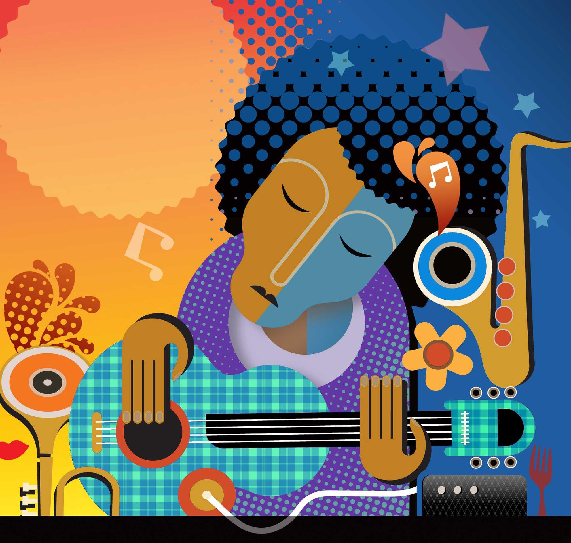 300 dpi Rick Nease illustration of jazz musician. (The Detroit Free Press/MCT)