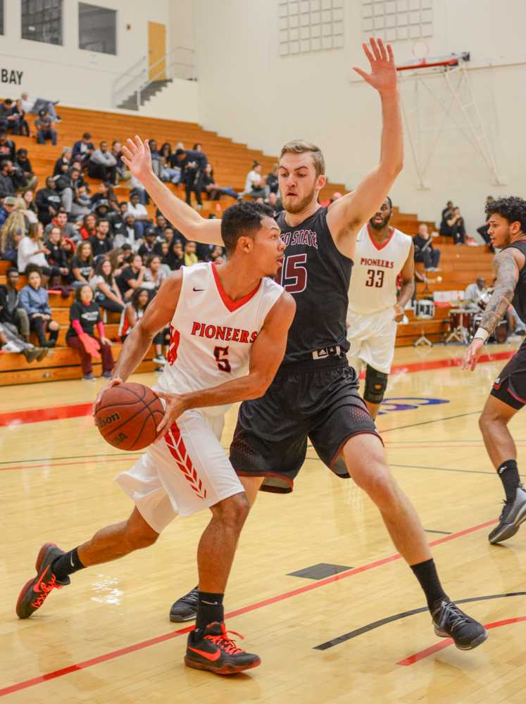 CSUEB junior guard Jalen Richard looks for an open teammate during a home loss to Chico State at Pioneer Gymnasium on the Hayward campus.