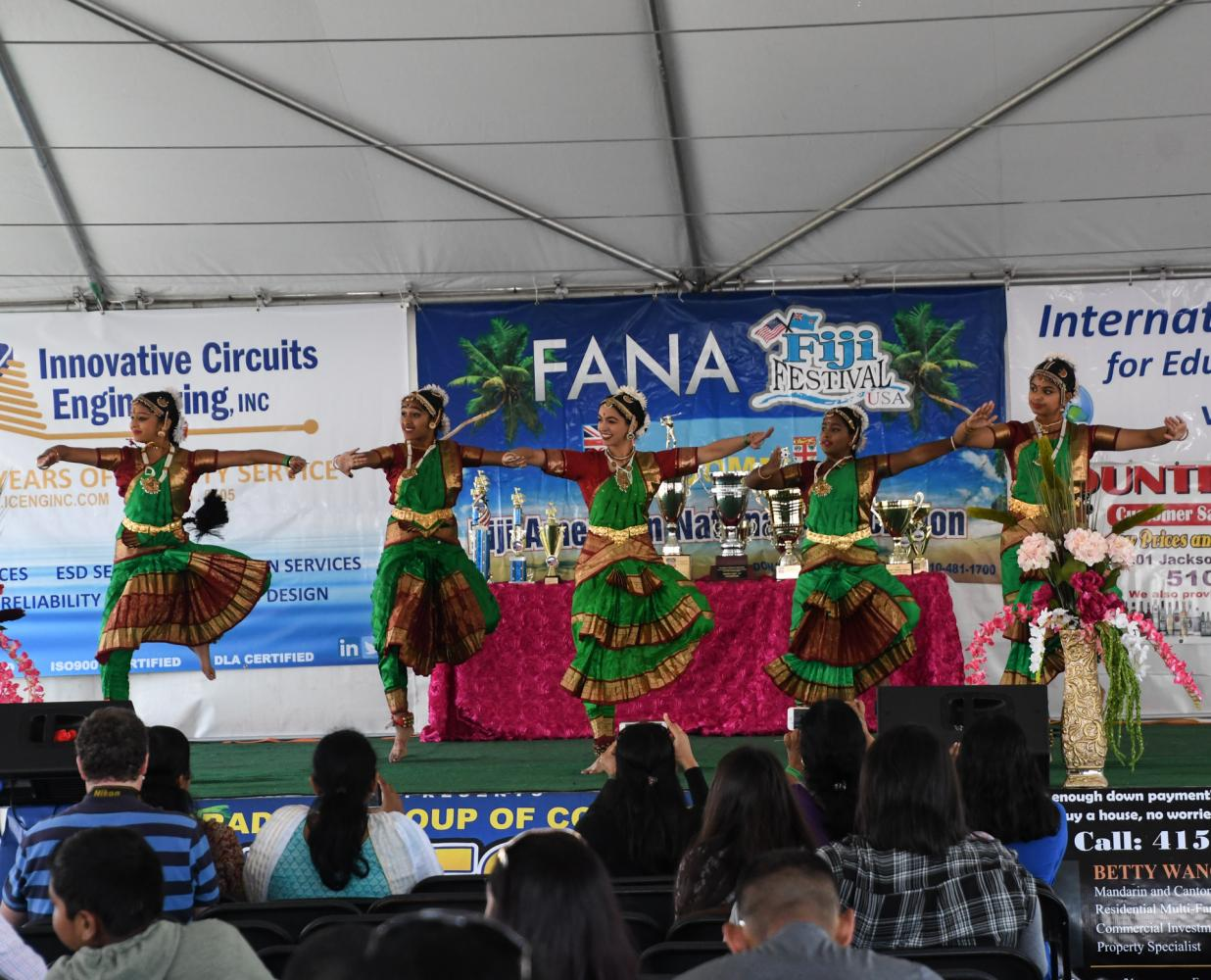 Traditional Indian-Fijian dancers perform for the crowd at the 15th annual Fiji Festival at the Cal State East Bay Hayward campus on Saturday. The event featured food, music, dance conpetitions, flag football, rugby, soccer, kava, face painting, a DJ and much more.