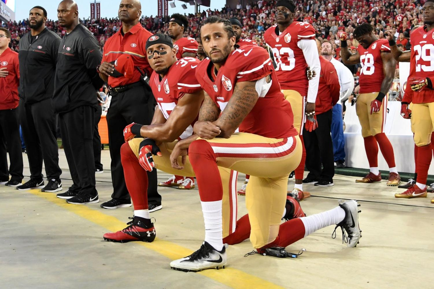 Colin Kaepernick kneeling at Levi's Stadium on Sep. 12, 2016.