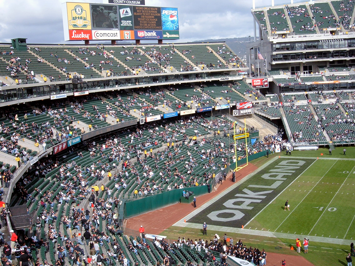 A photograph of the Oakland Coliseum, where the Raiders have played a cumulative total of 42 seasons.
