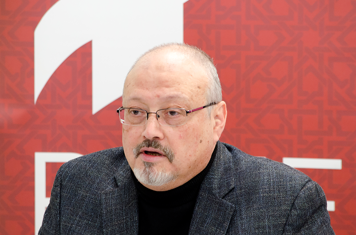"Saudi journalist, Global Opinions columnist for the Washington Post, and former editor-in-chief of Al-Arab News Channel Jamal Khashoggi offers remarks during POMED's ""Mohammed bin Salman's Saudi Arabia: A Deeper Look"""