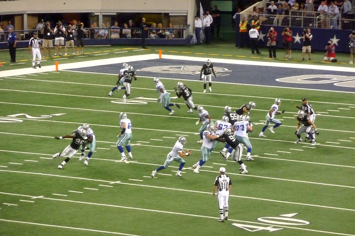 Dallas Cowboys/Oakland Raiders preseason game in 2010 at Cowboys Stadium.