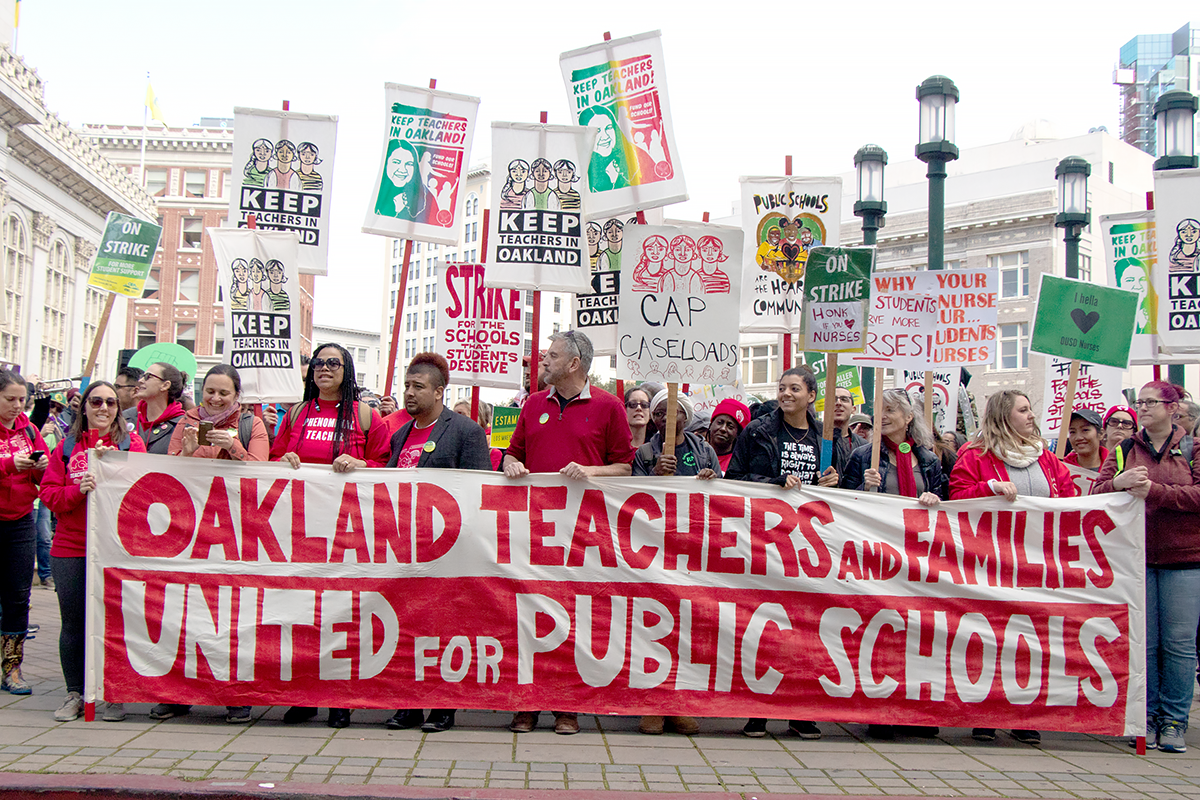 Oakland Teachers prepare to march to the state building on day 6 of the strike on February 28, 2019. The Oakland Education Association and district officials reached a tentative agreement on March 1, 2018.