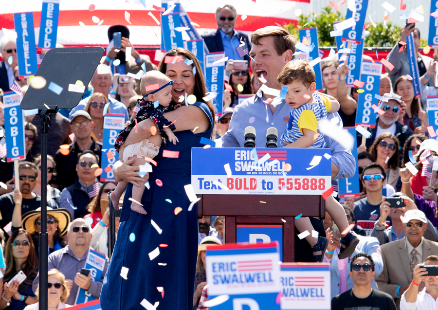 +Eric+Swalwell+and+his+wife+Brittney+celebrate+with+their+kids+Nelson+2+and+Crickett+5+months+during+his+hometown+rally.