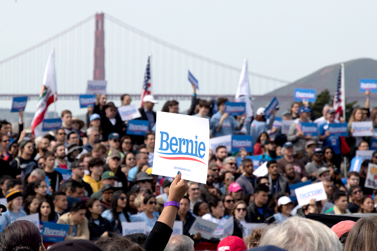 Crowds of people at Sen. Bernie Sanders' first public rally at Fort Mason Great Meadow in San Francisco on March 23, 2019.