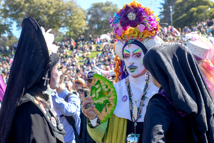 On+April+21%2C+2019%2C+at+Dolores+Park%2C+San+Francisco%2C+CA.+the+Sisters+of+Perpetual+Indulgence+event+takes+place+where+several+sister+gather+in+conversation.