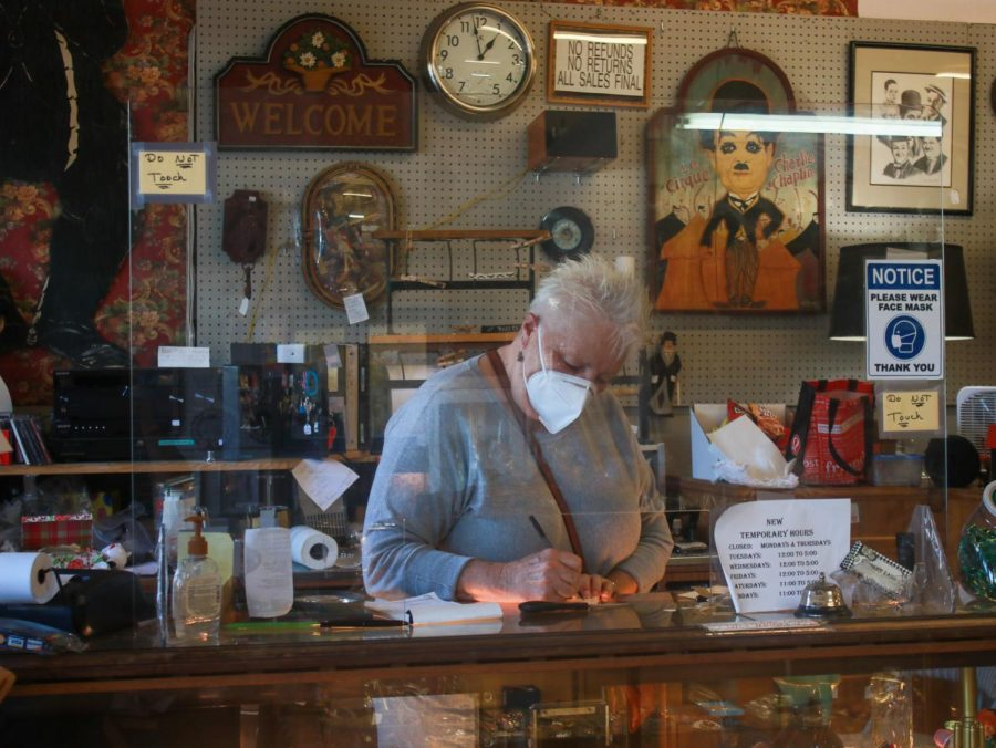 Janice Cuomo working on label making for her antique store 'Memory Lane' in Niles, Fremont, CA, on March 4.