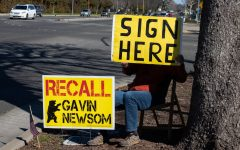 """A 63-year-old local man, who goes by the name of Al, sits on the side of the road holding a poster that says 'sign here,' conveying to passersby that they can partake in signing the petition in the nearby parking lot. Al confessed that he works with """"a lot of crazy liberals"""" and fears being identified and/or harassed for his political views."""