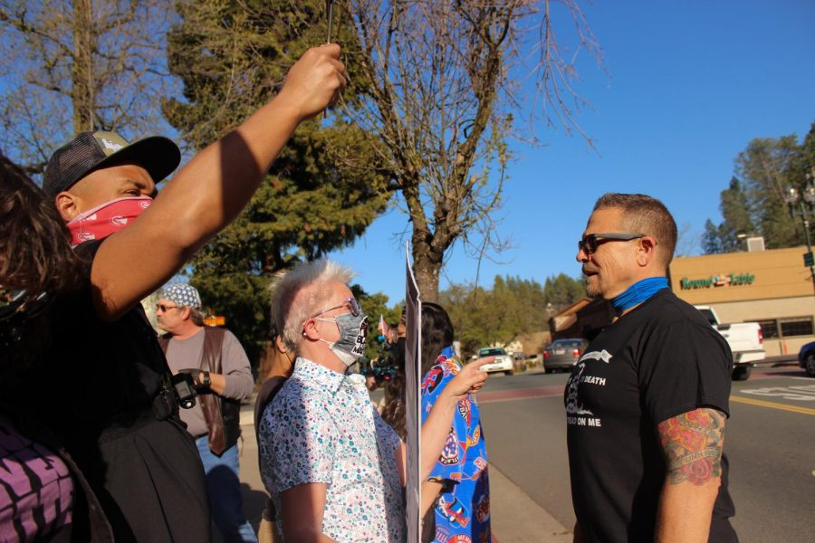 Affiliate with the Proud Boys, the man comes to the forefront of the protest line to accuse protesters of terrorism, and sowing division in El Dorado County.