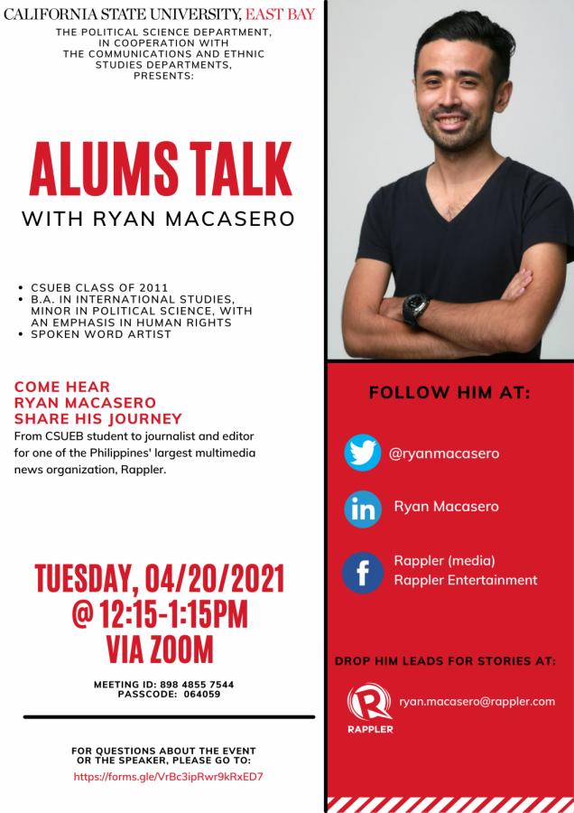 Ryan Macasero, CSUEB alumni, shares his experiences as a journalist with CSUEB students