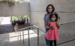 Esme and Anu Cairo pose for a photo at the top of the stairs into the museum.