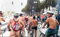 Riders stop along the Embarcadero during the world Naked Bike Ride.