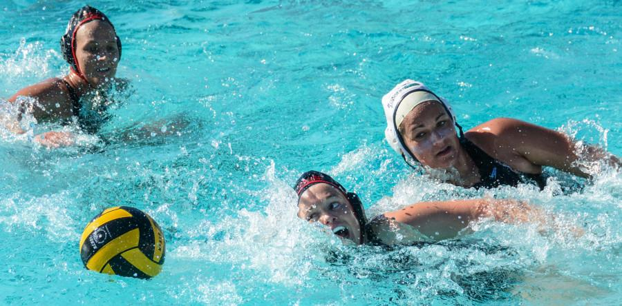 CSUEB junior Casey Rushforth chases down a loose ball last month in a home match at Pioneer Pool on the Hayward campus in a 13-6 victory over Cal Lutheran University on Feb. 14.