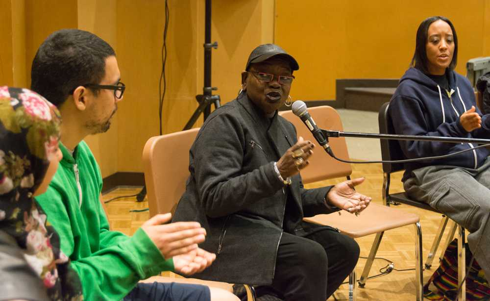 Ysaye Barnwell, former member of the performance ensemble group, Sweet Honey On The Rock, shows audience members how to keep a rhythm on Tuesday in the Music Building on the Hayward campus.