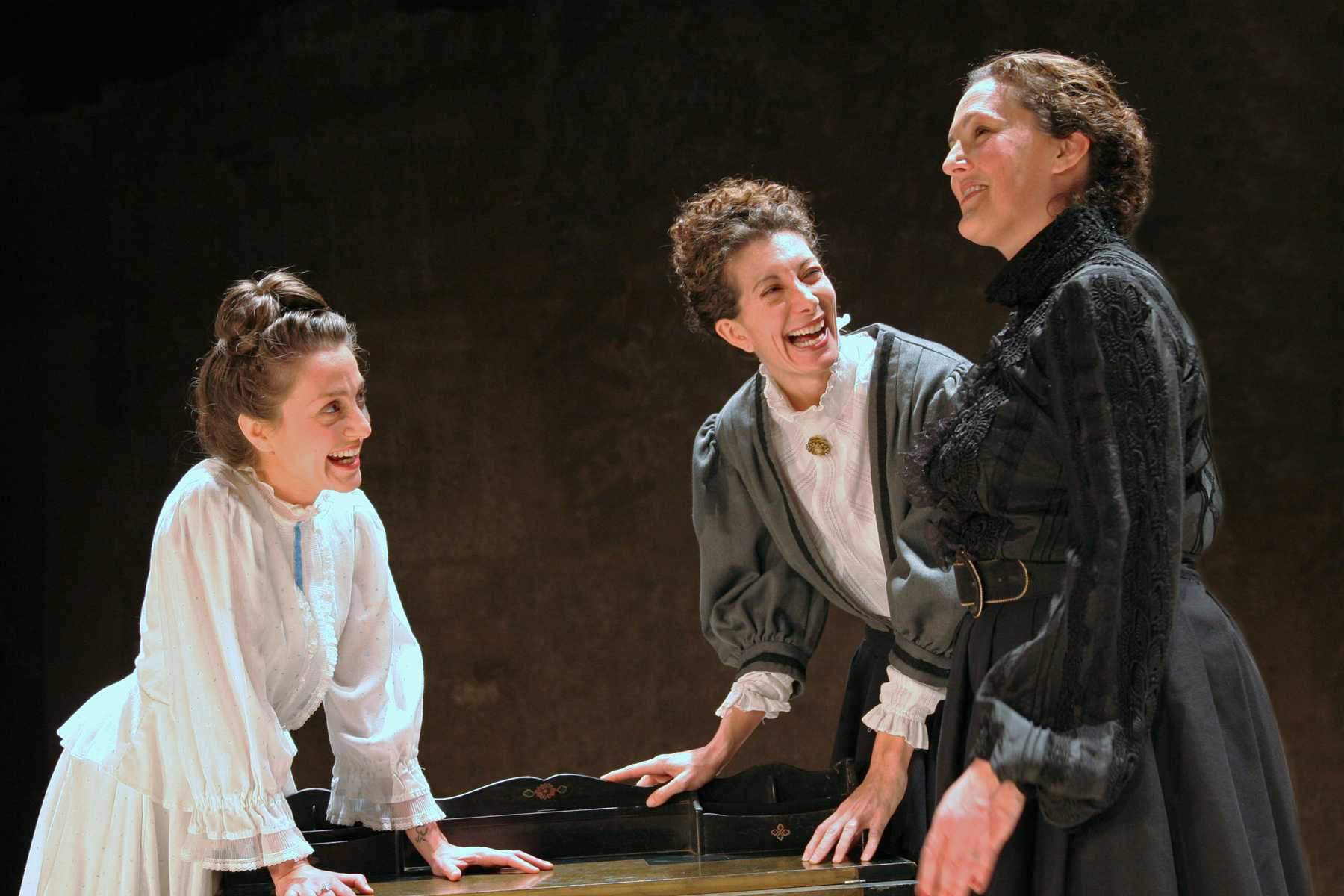 """Douglas Morrison Theater's Miriam Ani, Kate Dunlop Tomatis, and Daria Hepps rehearse earlier this year for """"Three Sisters."""""""