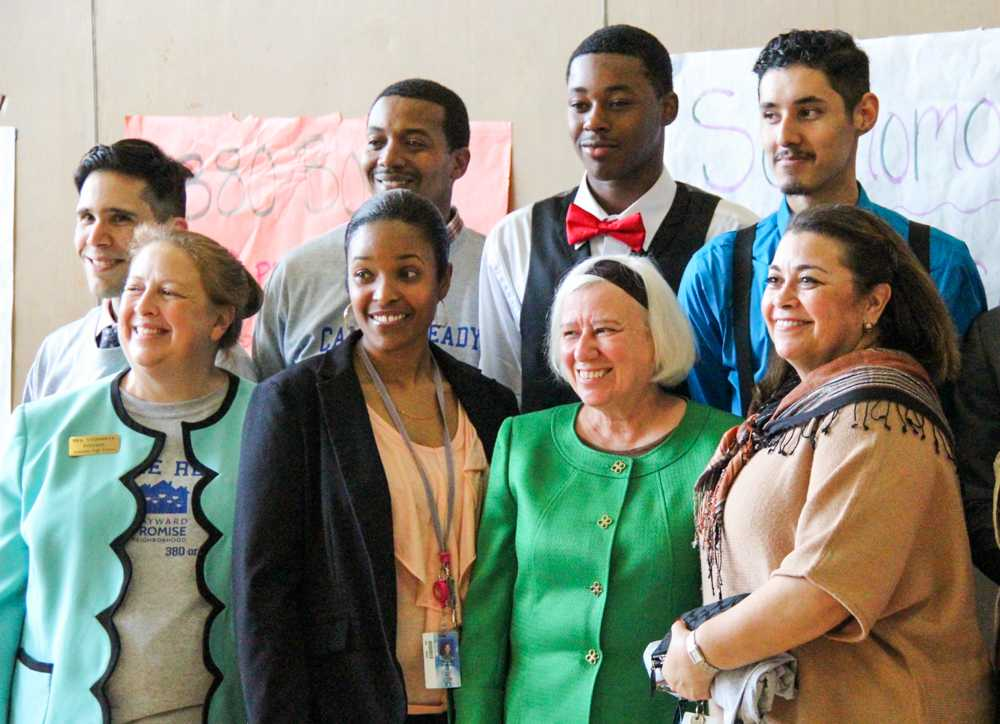 Hayward Mayor Barbara Halliday (front row third from left) joins Tennyson High School staff on Wednesday for a rally to motivate students to do well in the High School Exit Exams scheduled on March 17 and 18.