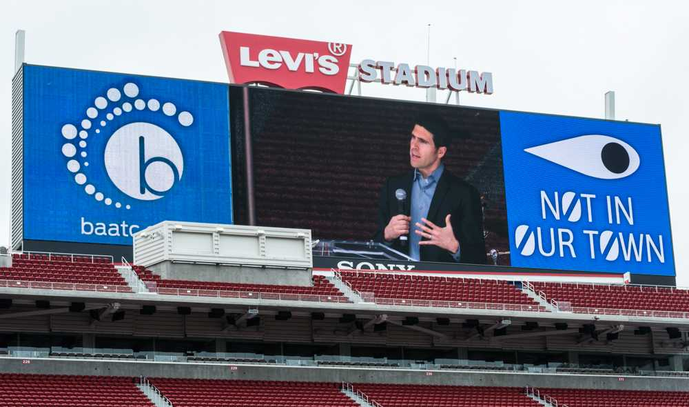 Poralis Project Executive Officer Brad Myles discusses different types of human trafficking at Levi's Stadium.