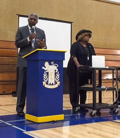 Pastor Tommy Smith speaks with the NAACP President Freddy M. Davis on Saturday at Mount Eden High School in Hayward.