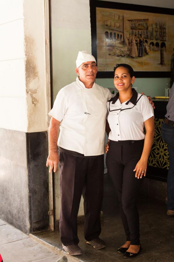 A+chef+and+waitress+at+a+state-run+restaurant%2C+Torrelavega%2C+in+Old+Havana.