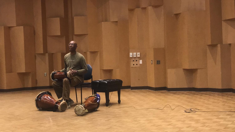 Afro-Cuban musician, dancer and teacher Roberto Borrell at Cal State East Bay's Recital Hall.