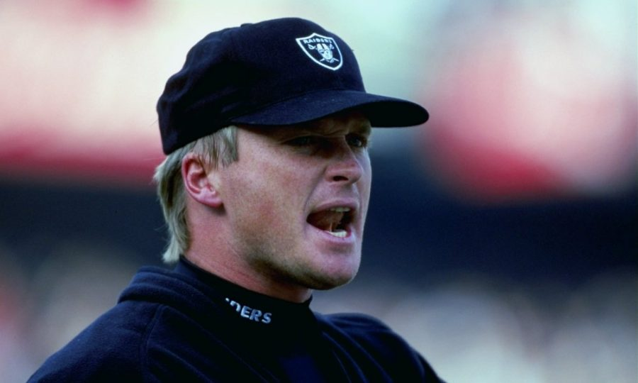 26 Dec 1998: Head coach Jon Gruden of the Oakland Raiders looks on during the game against the Kansas City Chiefs at the Oakland Coliseum in Oakland, California. The Chiefs defeated the Raiders 31-24.