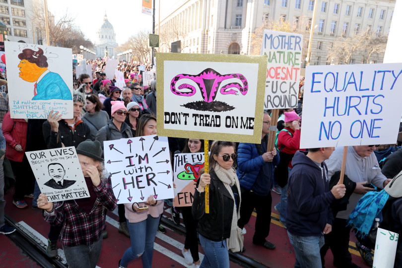 Thousands of demonstrators take part in the Women's march and rally at Civic Center in San Francisco, Calif., on Saturday, Jan. 20, 2018.