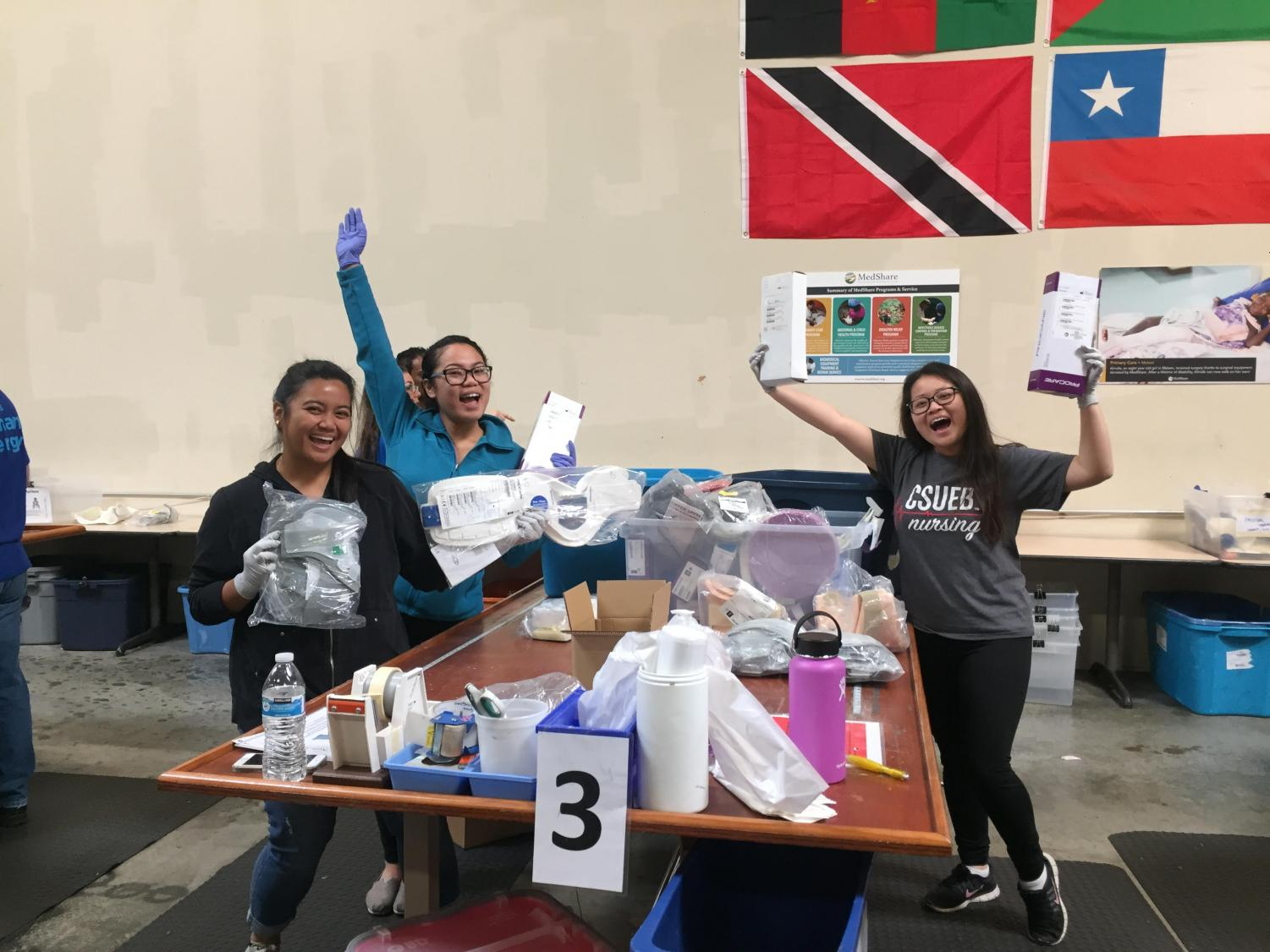 LEFT TO RIGHT: MedShare volunteers and CSU East Bay Alumni Charlyne-Mae Parel, Cristel Mendoza and Carmen Lee