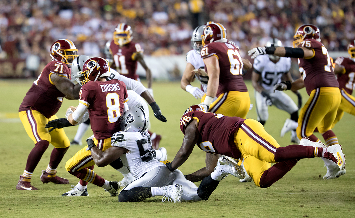 Khalil Mack sacks Kirk Cousins in a prime time game against the Washington Redskins on Sept. 24, 2017