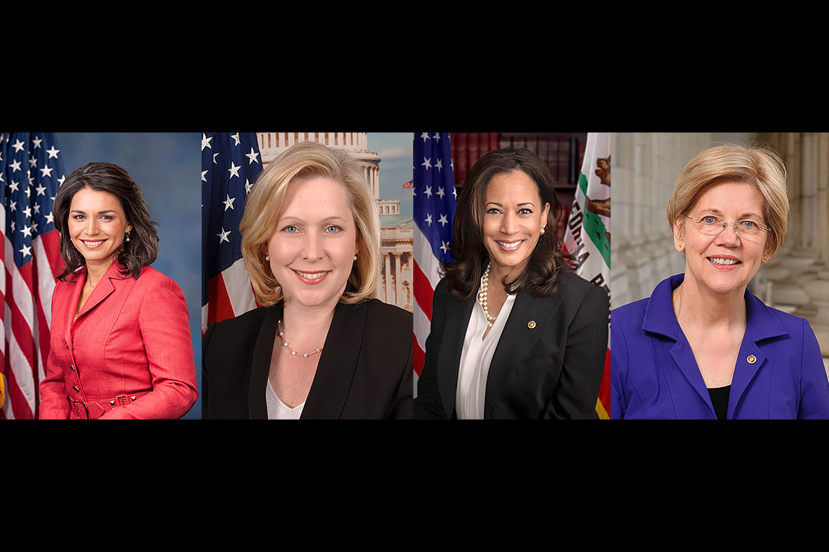 LEFT TO RIGHT: Women candidates running for president. Tulsi Gabbard, Kirsten Gillibrand, Kamala Harris, and Elizabeth Warren.