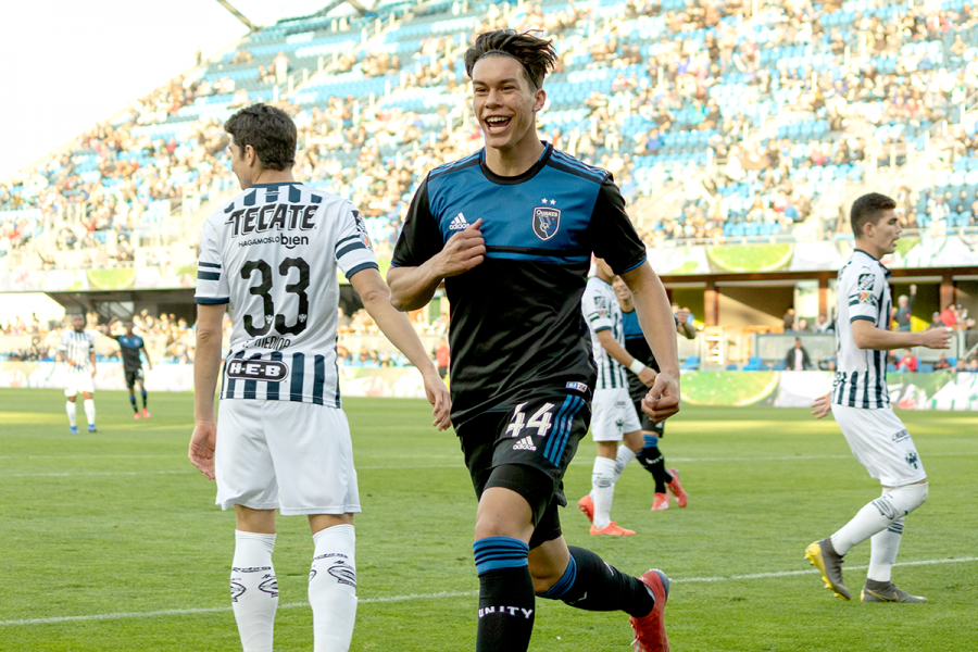 15 Year old Cade Cowell celebrates scoring his first professional goal for the San Jose Earthquakes on his professional debut for the club.