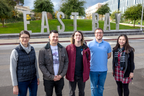 Professor Ruth Tinnachr and her group of evironmental geochemistry students at Cal State East Bay. From the Left to Right: Professor Ruth Tinnacher, Jonathan Pistorino, Nick Hall, Allen Shaw, and Diem Quynh La.