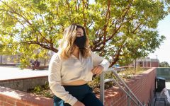Euridice Pamela Sanchez sitting in the patio area in front of the Recreation and Wellness Center, or RAW, at CSUEB on March 4