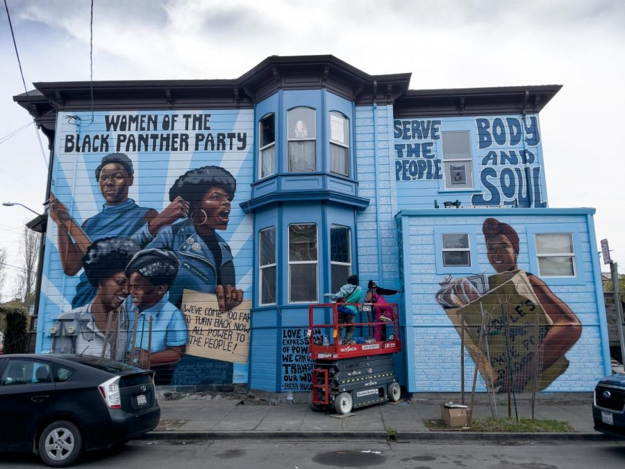 A+house+at+the+corner+of+Dr.+Huey+P+Newton+Way+and+Center+Street+has+been+transformed+into+a+giant+mural+celebrating+the+Women+of+the+Black+Panther+Party.