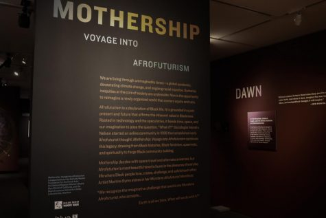 Sept. 10 at the Oakland Museum of California. The entrance to the Mothership: Voyage into Afrofuturism exhibit with information about Afrofuturism and its celebration of Black imagination.